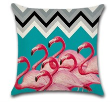 The Grouped Flamingos Cushion